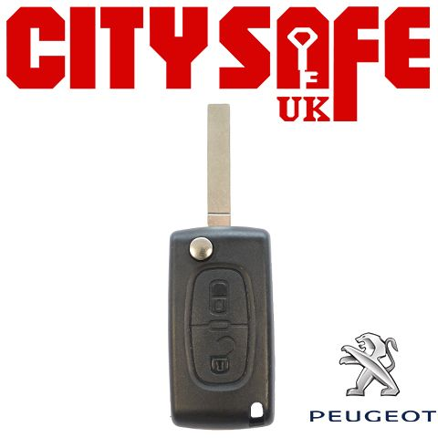 Peugeot Flip Key Repair Case - 2 Buttons (Includes VA2 Blade)