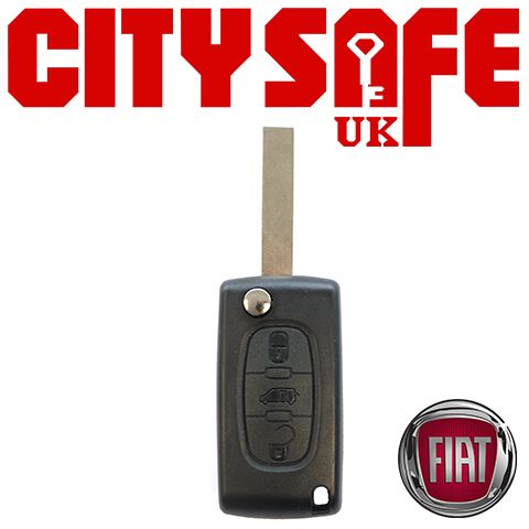 Fiat Flip Key Repair Case - 3 Buttons (Includes VA2 Blade)