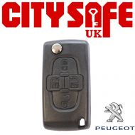 Peugeot Flip Key Repair Case - 4 Buttons (Includes HU83 Blade)