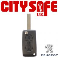Peugeot Flip Key Repair Case - 3 Buttons (Includes HU83 Blade)