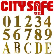Gold Anodised 3 Inch Self Adhesive Door Numbers and Letters