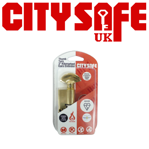 Brass 3* Kitemarked Thumb Turn Euro Cylinders - Retail Packaged