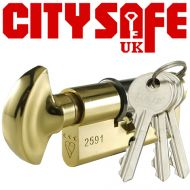 Brass 3* Kitemarked Thumb Turn Euro Cylinders