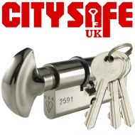 Chrome 3* Kitemarked Thumb Turn Euro Cylinders