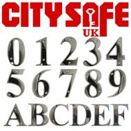 Polished Chrome 3 Inch Bevelled Edge Door Numbers and Letters