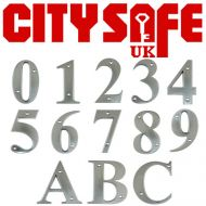 Satin Chrome 3 Inch Bevelled Edge Door Numbers and Letters